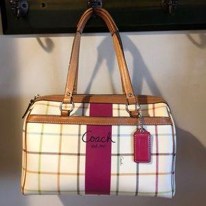 Coach Plaid Barrel Bag